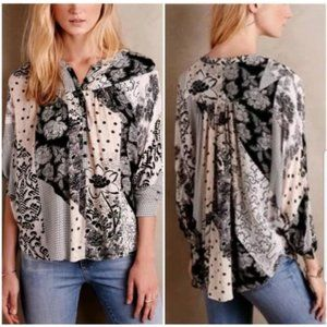 Anthropologie Maeve Mixed Floral Patchwork Blouse